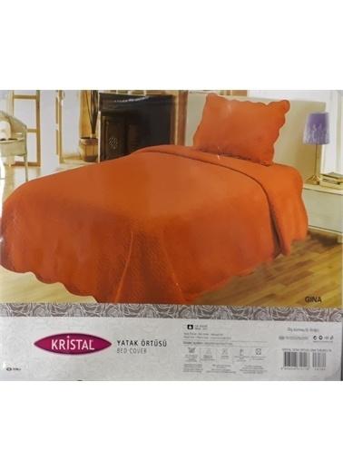 Taç Nubuk Yatak Örtüsü Gina Turuncu Renkli